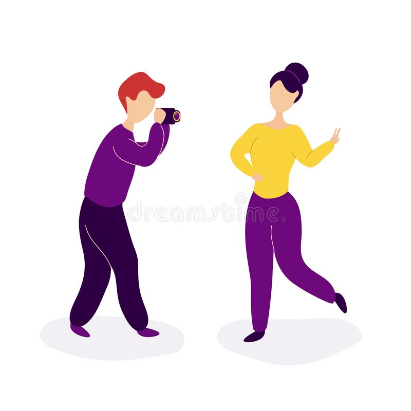 Boyfriend making his girlfriend photo. Romantic couple in love spending time together.Romantic relationship and love concept.Boyfriend making girlfriend photo stock illustration
