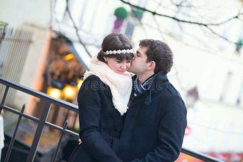 Romantic couple on Montmartre. In Paris, kissing stock images