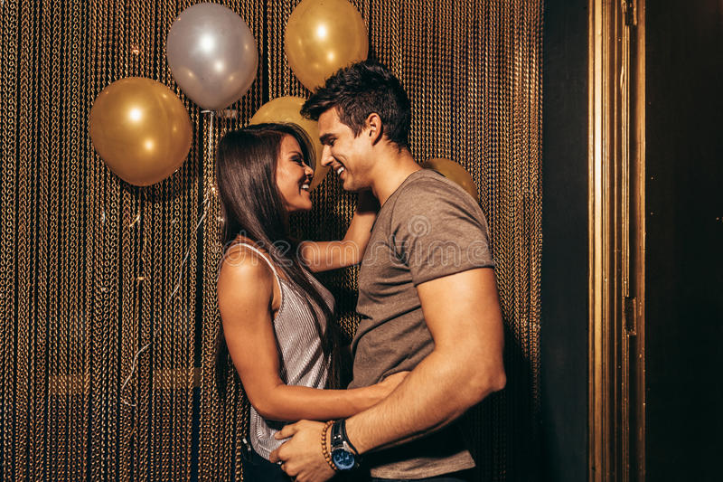 Romantic couple in the night club royalty free stock photo
