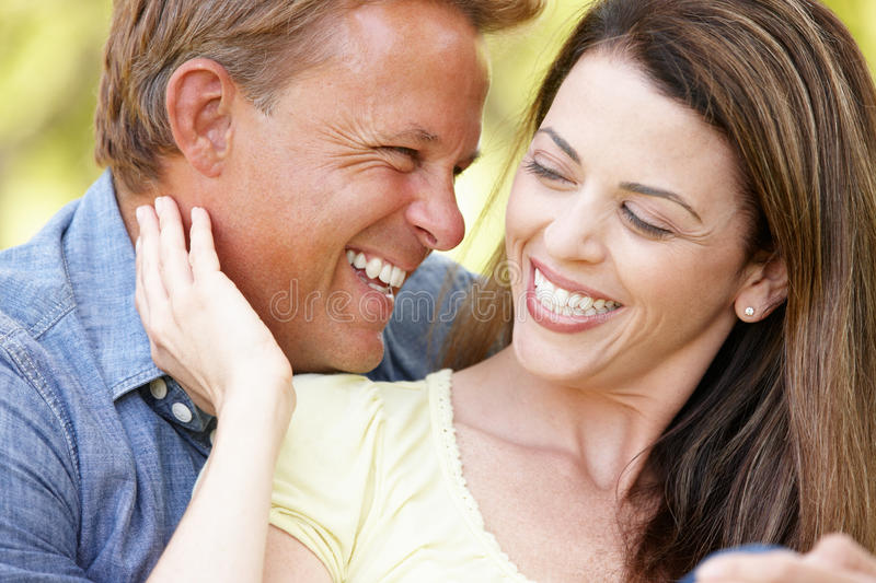 Romantic couple outdoors royalty free stock images
