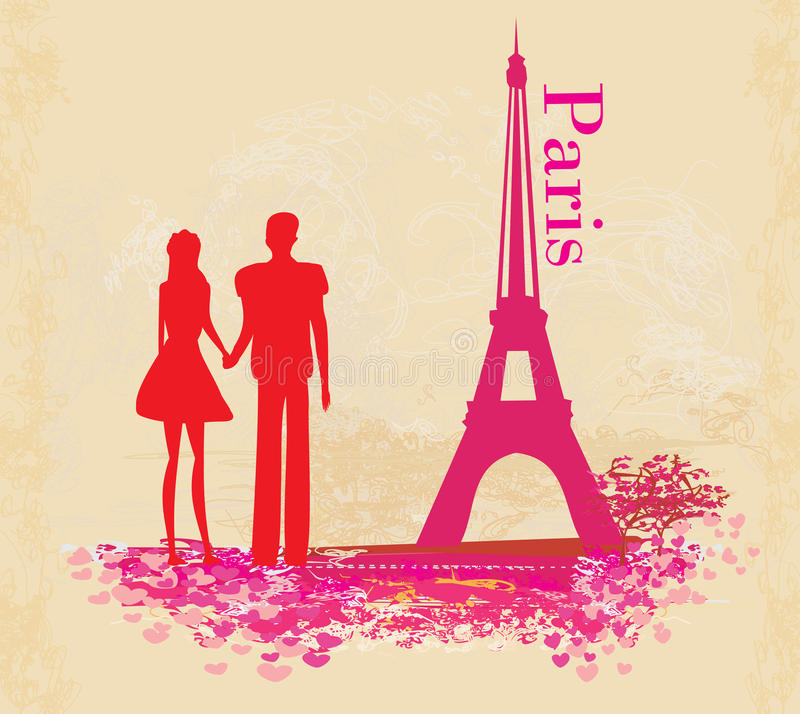 Romantic couple in Paris - abstract card. Illustration stock illustration