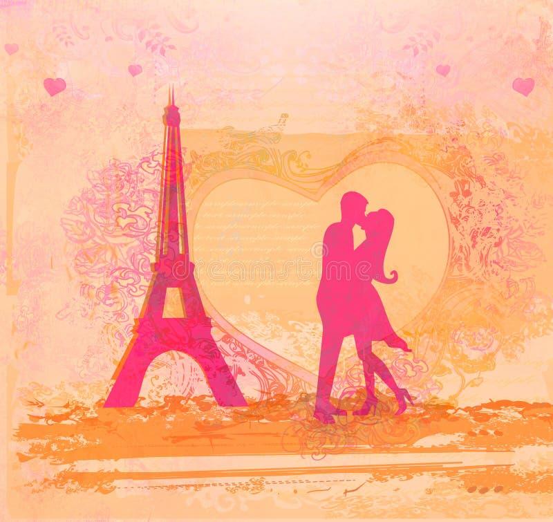 Romantic couple in Paris kissing near the Eiffel Tower. Retro card vector illustration