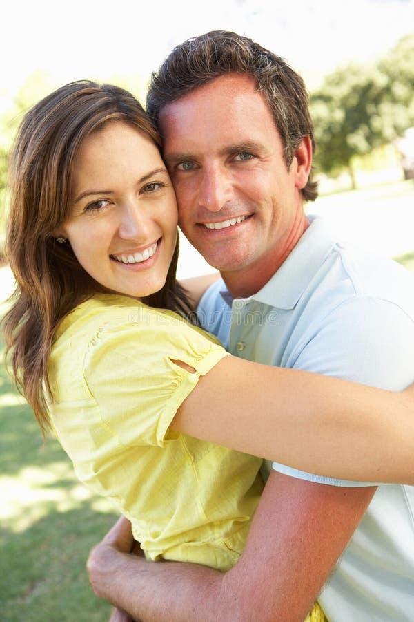 Romantic Couple In Park stock photo