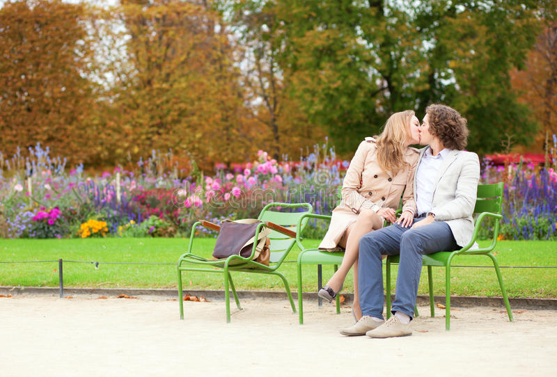 Download Romantic Couple In A Park At Fall Stock Image - Image of attractive, date: 25217363