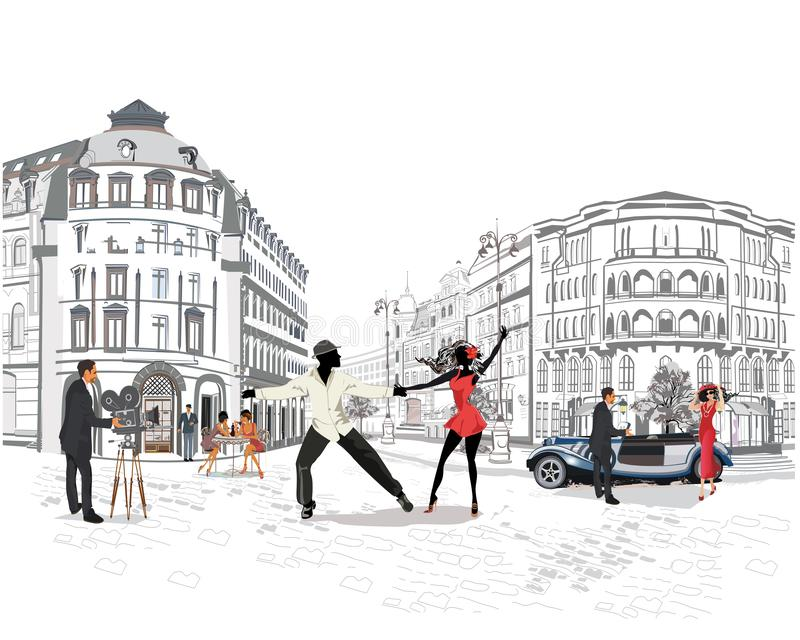 Romantic couple in passionate Latin American dances. Series of colorful retro street views with fashion people in the old city. Hand drawn vector architectural royalty free illustration