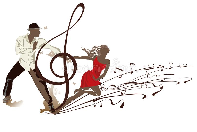 Abstract treble clef decorated with a salsa dancers. vector illustration
