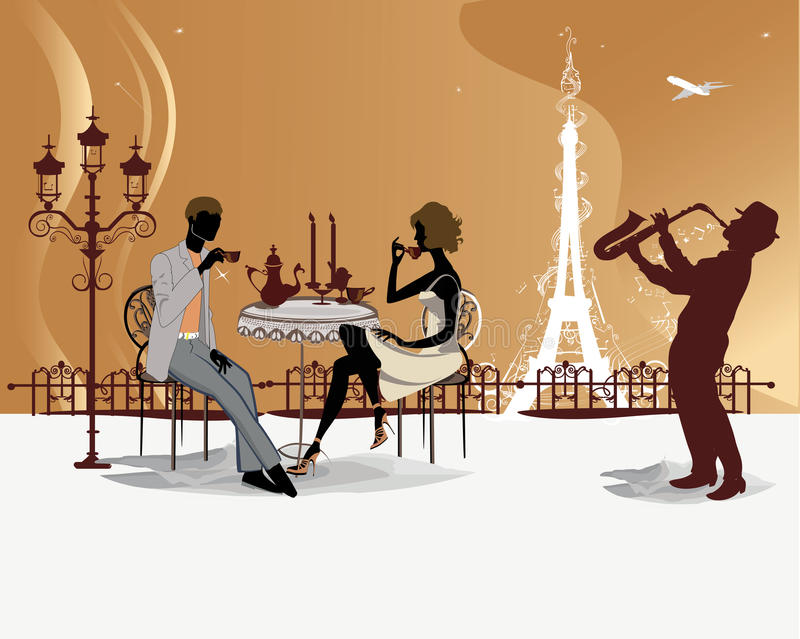 Romantic couple in the restaurant with a musician vector illustration