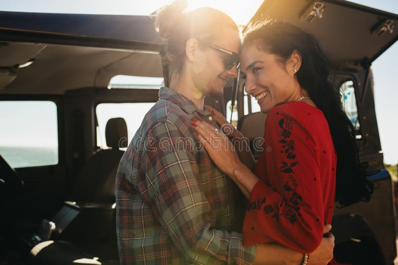 Romantic couple on a road trip royalty free stock photos