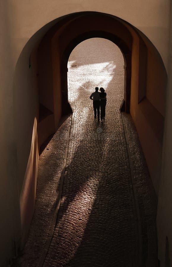 Romantic couple silhouette royalty free stock photo