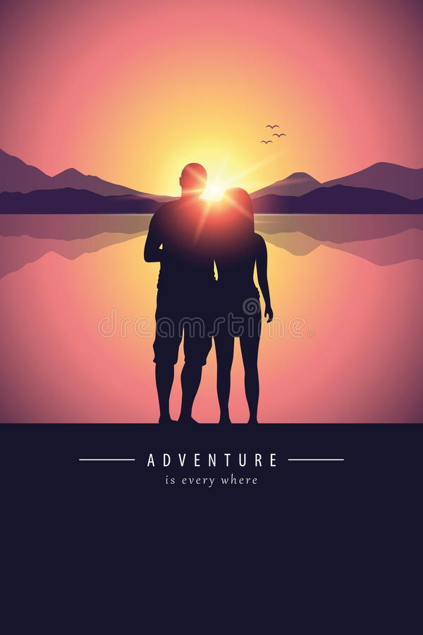 Romantic couple silhouette by the lake at sunset royalty free illustration