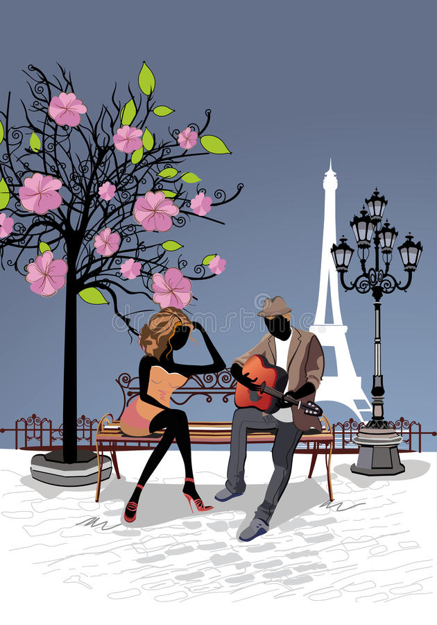 Romantic couple sitting on the bench vector illustration