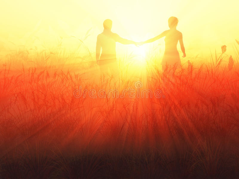 Romantic Couple At Sunrise Royalty Free Stock Photography