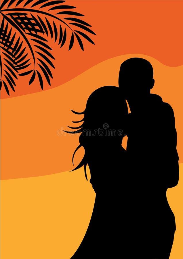 Romantic couple on the sunset background stock illustration