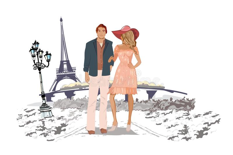 Romantic couple travelling the Europe. Hand drawn vector illustration. royalty free illustration