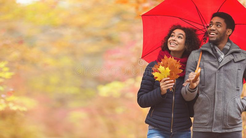 Romantic couple with umbrella in autumn park stock images