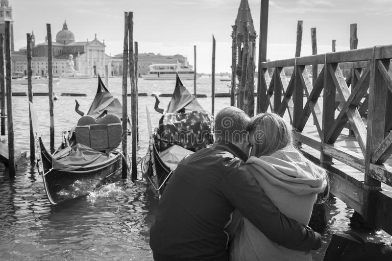 Romantic couple in Venice. royalty free stock photos