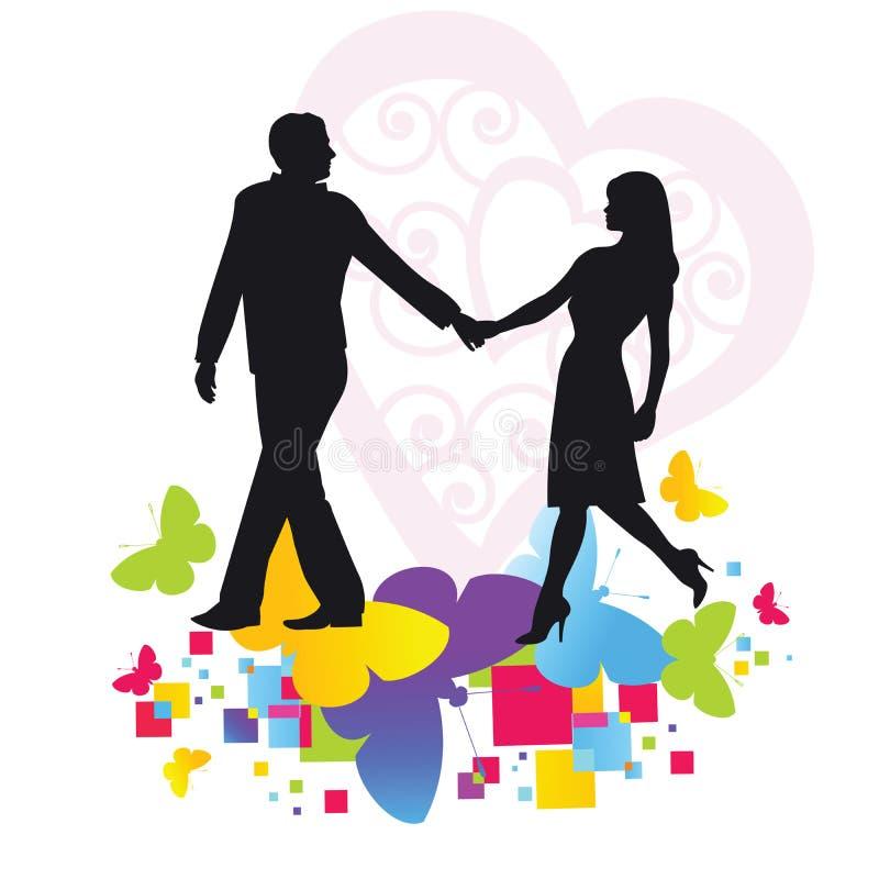 Romantic couple walking royalty free illustration