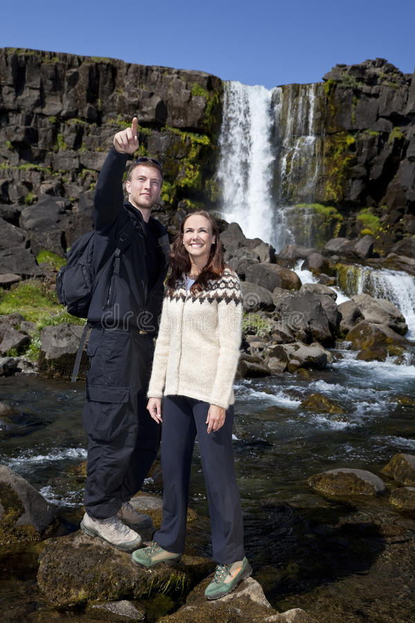 Download Romantic Couple By A Waterfall Stock Photo - Image: 10384666