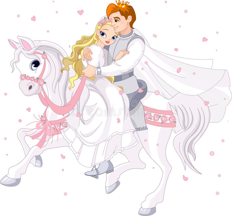 Download Romantic Couple On White Horse Stock Vector - Illustration: 24781883
