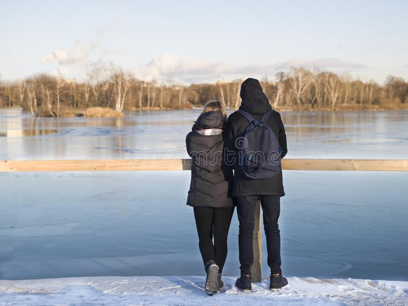 Romantic couple in winter royalty free stock images