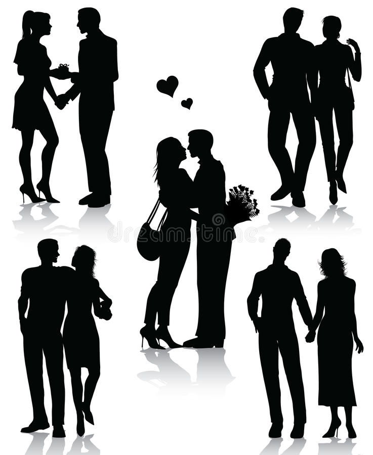 Download Romantic Couples Silhouettes Stock Vector - Illustration of dating, people: 17945653
