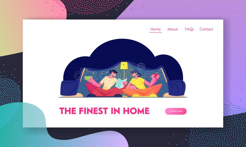 Romantic Cozy Family Evening Sparetime Website Landing Page. Happy Loving Couple Sitting at Home in Childrens Tent royalty free illustration