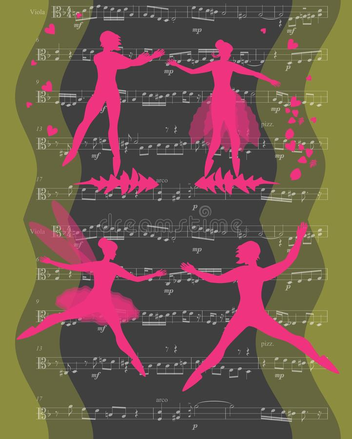 Romantic dance. Pink silhouettes of magic ballet dancers on musical background. Vector card.  stock illustration