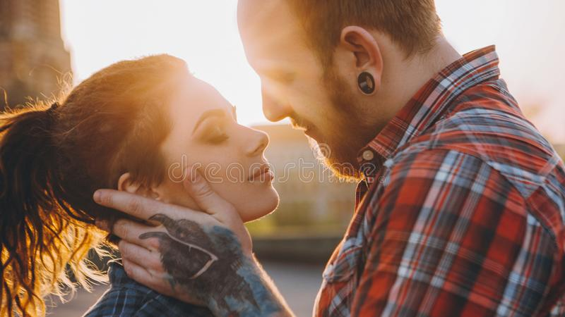 Romantic date gentle touch care affection couple stock images