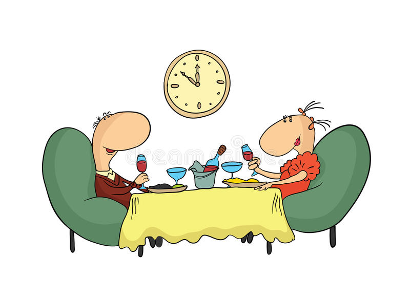A romantic date in a restaurant. Cartoon couple, man and woman having dinner at the table. On the wall hang the clock vector illustration