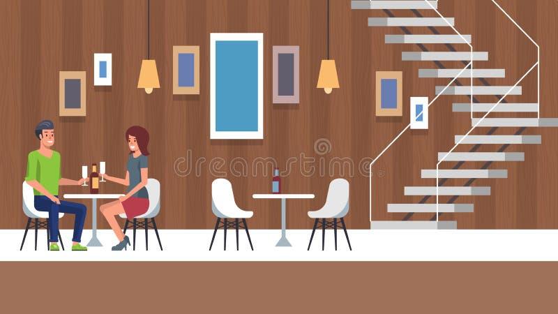 Romantic restaurant scene stock vector. Illustration of ...