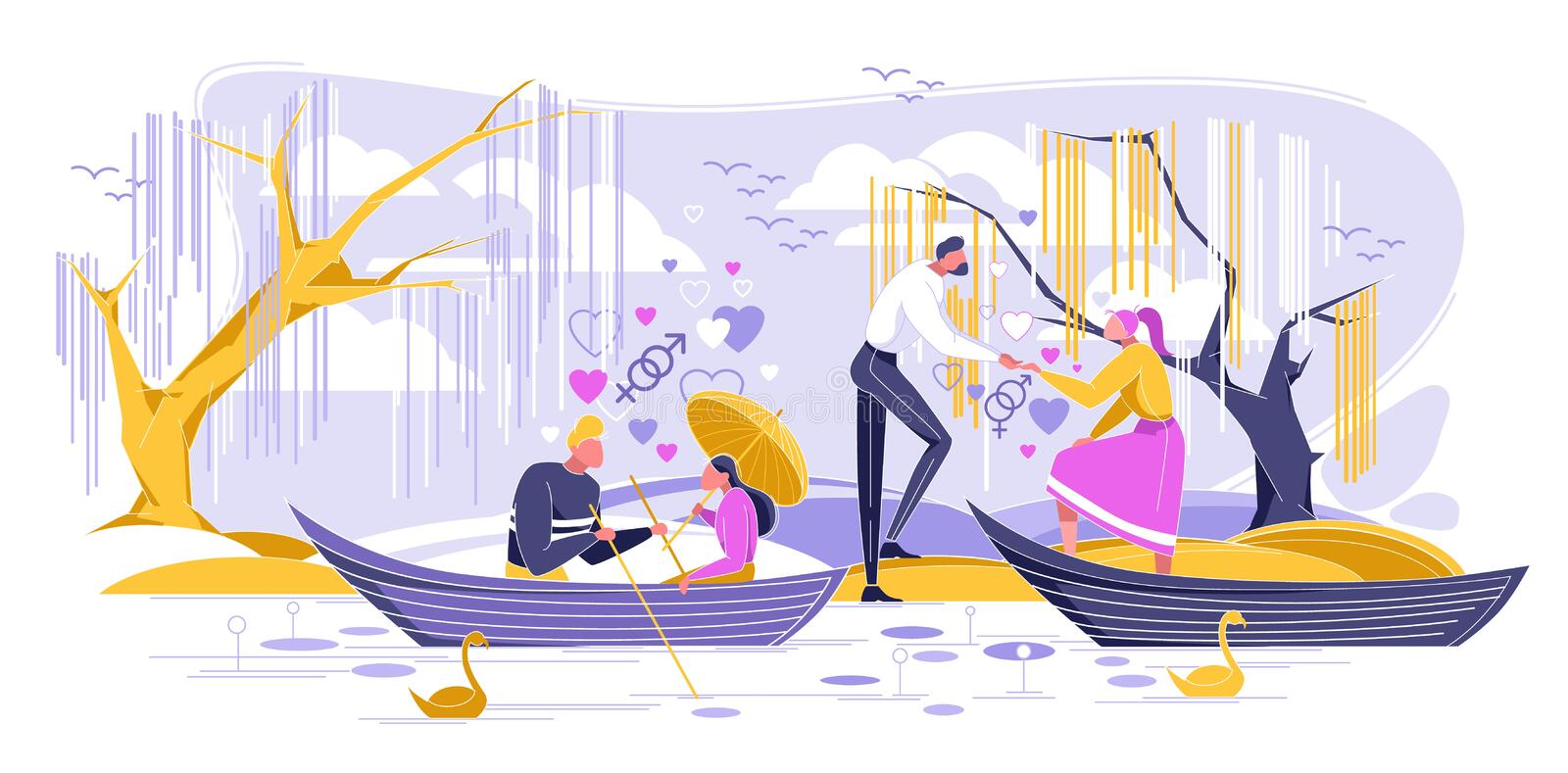 Romantic Dating in Boat, Love Relationship Flat. Romantic Dating in Boat Flat Cartoon Vector Illustration. Quiet Place for Declaration Love. Foliage Trees royalty free illustration