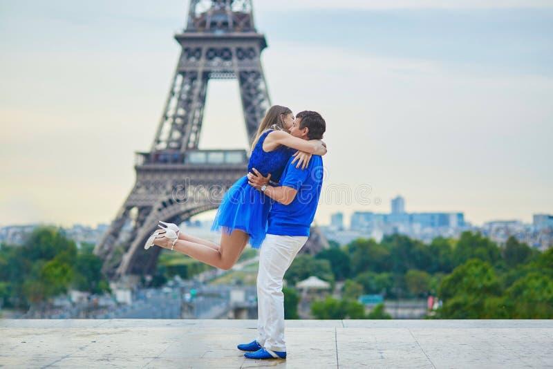 Romantic dating couple in Paris stock photos