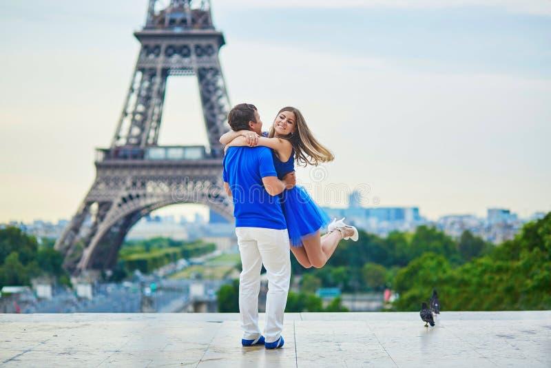 Romantic dating couple in Paris royalty free stock photos