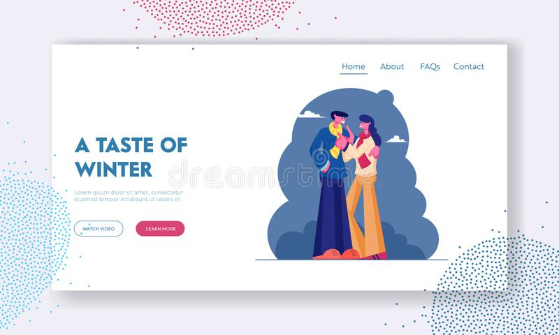 Romantic Dating on Street Website Landing Page. Loving Couple Wearing Warm Clothing Cuddling Hugging. At Cold Autumn Weather. Love and Human Relations. Web Page royalty free illustration