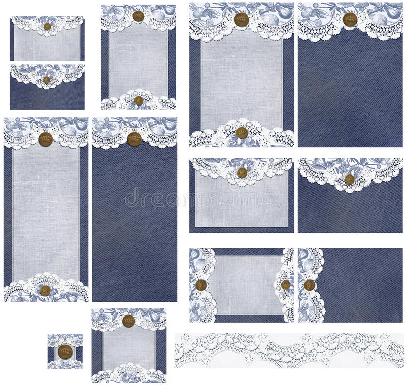 Romantic denim and lace rustic wedding invitation set. The Romantic denim and lace rustic wedding invitation set includes standard invitation formats featuring royalty free stock image