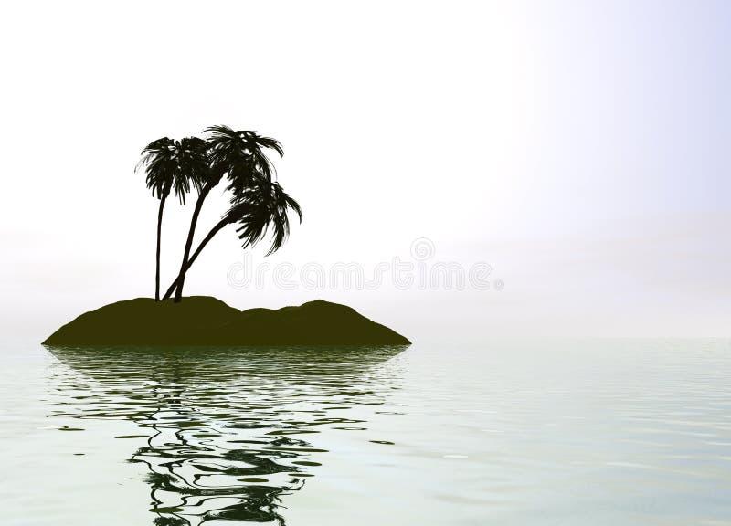 Romantic Desert Island with Palm Tree. Against the Horizon royalty free illustration