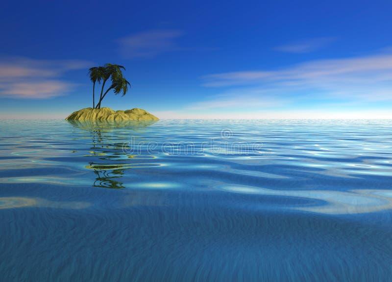 Romantic Desert Island with Palm Tree. Against the Horizon stock illustration