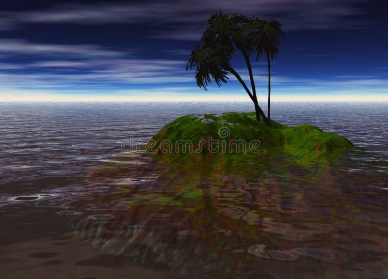 Romantic Desert Island with Palm Tree. Against the Horizon vector illustration