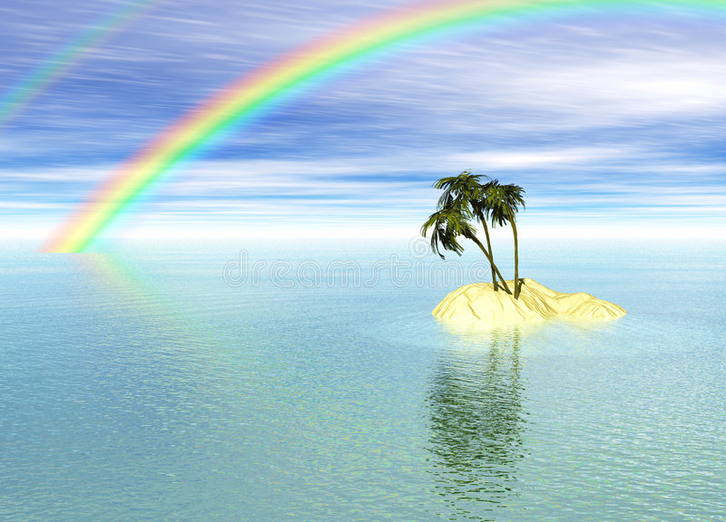 Romantic Desert Island with Palm Tree and Rainbow. Against the Horizon royalty free illustration