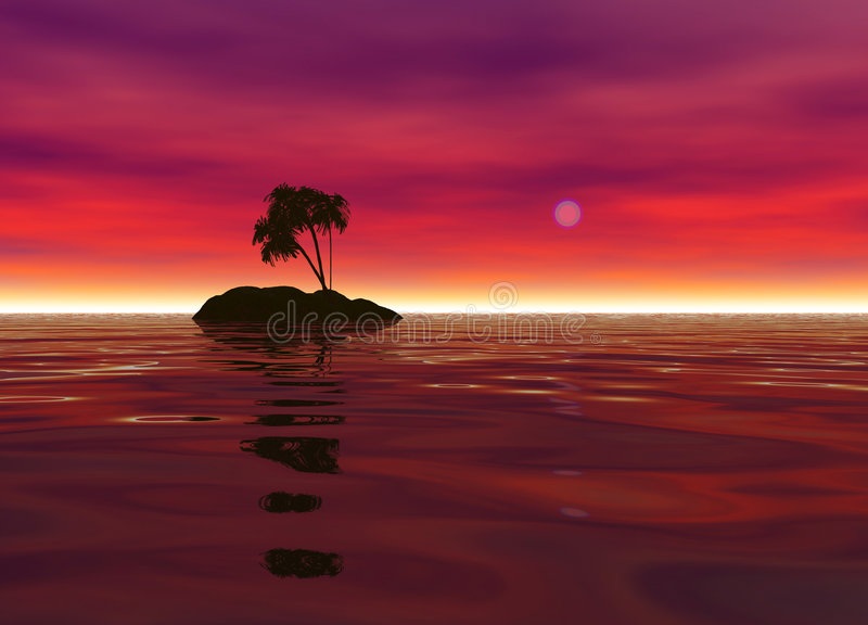 Romantic Desert Island with Palm Tree Silhouette. Against the Red Horizon royalty free illustration