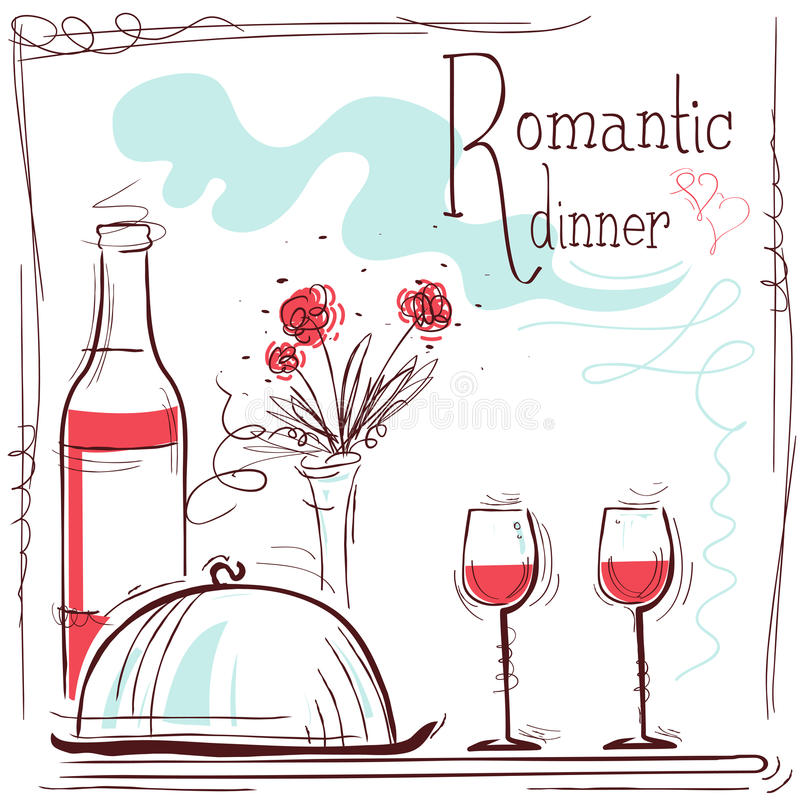 Romantic dinner card.Vector illustration with wine and food. And text royalty free illustration
