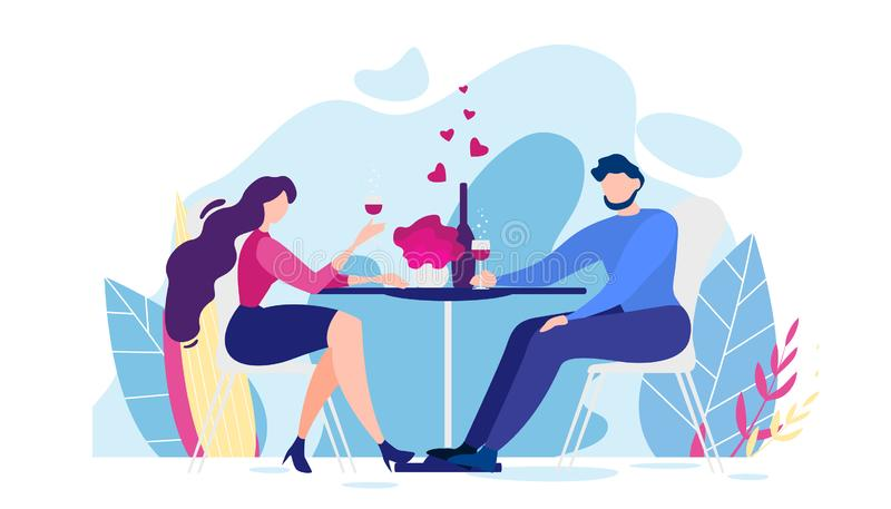 Girlfriend Cheers Glass Drink Wine Illustration. Romantic Dinner Cartoon Man and Woman Table, Nature Flower Background Vector Illustration. Girlfriend Cheers stock illustration