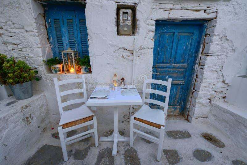 Romantic dinner at Chora square at Folegandros island. Folegandros island at cyclades , Greece royalty free stock image