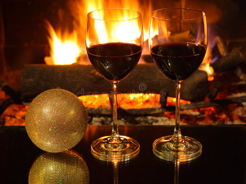 Romantic dinner, christmas. royalty free stock photos