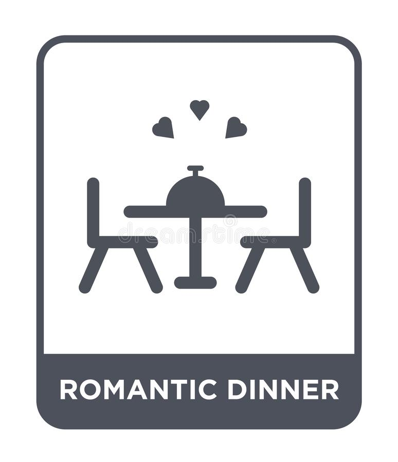 Romantic dinner icon in trendy design style. romantic dinner icon isolated on white background. romantic dinner vector icon simple. And modern flat symbol for stock illustration