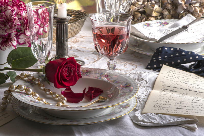 Romantic dinner with love stock image