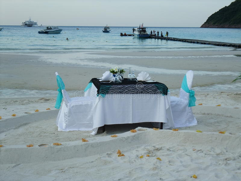 Romantic dinner at seaside. At Redang Island, Malaysia stock photos