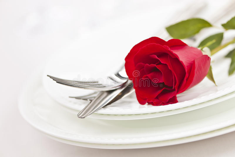 Romantic dinner setting royalty free stock photography