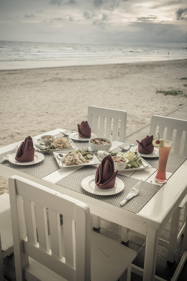 Download Romantic Dinner Table Setup On Tropical Beach Stock Image - Image of place setup & Romantic Dinner Table Setup On Tropical Beach Stock Image - Image of ...