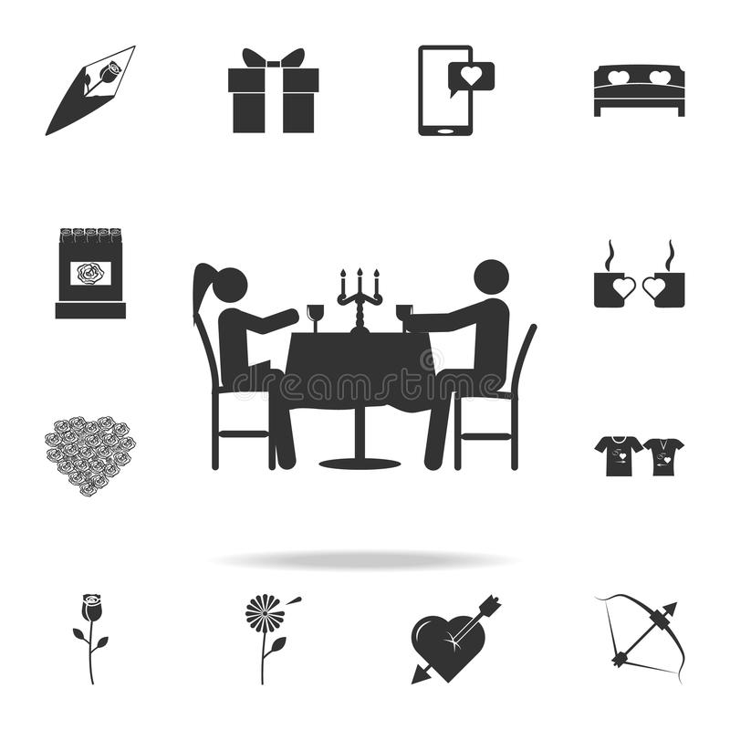 Romantic dinner for two icon. Detailed set of signs and elements of love icons. Premium quality graphic design. One of the collect. Ion icons for websites on royalty free illustration